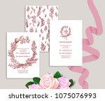 set of wedding stationery...   Shutterstock .eps vector #1075076993