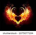 angel fire heart with flaming... | Shutterstock .eps vector #1075077104
