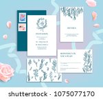 set of wedding stationery... | Shutterstock .eps vector #1075077170