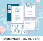 set of wedding stationery... | Shutterstock .eps vector #1075077170