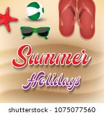 summer holiday background. top... | Shutterstock .eps vector #1075077560