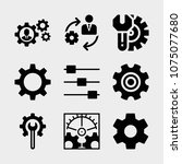 set of 9 settings filled icons... | Shutterstock .eps vector #1075077680