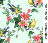 seamless pattern with roses... | Shutterstock .eps vector #1075079189