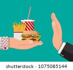 man refuses take fast food with ... | Shutterstock .eps vector #1075085144