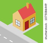 small house isometric view ...   Shutterstock .eps vector #1075086449