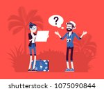 lost tourists in a foreign... | Shutterstock .eps vector #1075090844