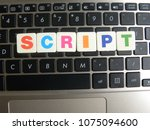 Small photo of Word Script on keyboard background