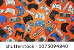 video game controller... | Shutterstock .eps vector #1075094840