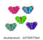 a close up of beauty  butterfly ... | Shutterstock . vector #1075097564