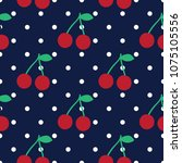 cherry seamless pattern with... | Shutterstock .eps vector #1075105556