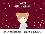 cute little girl and flower | Shutterstock .eps vector #1075112300