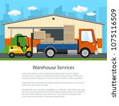 warehouse on the background of... | Shutterstock .eps vector #1075116509