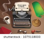 typewriter and other bjects on... | Shutterstock .eps vector #1075118033