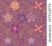 vector floral seamless pattern. ... | Shutterstock .eps vector #1075118774
