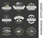 camping logos templates vector... | Shutterstock .eps vector #1075120010