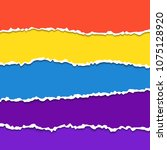 torn paper set. colorful... | Shutterstock .eps vector #1075128920