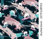 french bulldog on skateboard... | Shutterstock .eps vector #1075128923