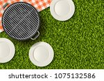 bbq picnic in park  banner or... | Shutterstock .eps vector #1075132586