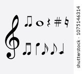 vector musical notes clef and... | Shutterstock .eps vector #1075146314