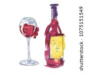set of red wine bottle and... | Shutterstock . vector #1075151549