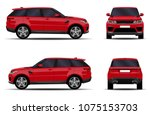 realistic suv car. front view ...   Shutterstock .eps vector #1075153703