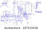 sketch of a mechanical device.... | Shutterstock .eps vector #107515418