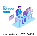 man working on computer. vector ... | Shutterstock .eps vector #1075154459
