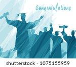 graduation in silhouette in... | Shutterstock .eps vector #1075155959