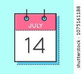 vector calendar icon. flat and... | Shutterstock .eps vector #1075161188