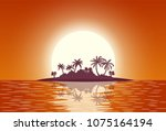 hot tropical island with palm... | Shutterstock .eps vector #1075164194