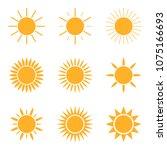 sun icon set isolated on white...   Shutterstock . vector #1075166693