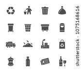 garbage recycling icons | Shutterstock .eps vector #1075168616