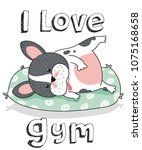 french bulldog i love gym | Shutterstock .eps vector #1075168658
