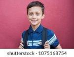 portrait of schoolboy standing... | Shutterstock . vector #1075168754