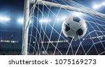 soccer game moment  on... | Shutterstock . vector #1075169273