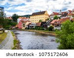 view of city cesky krumlov and... | Shutterstock . vector #1075172606