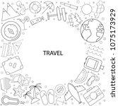 travel background from line... | Shutterstock .eps vector #1075173929