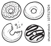 Doodle style donut or doughnut illustration in vector format.  Set includes glazed, cake, frosted, and chocolate. - stock vector