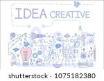 hand drawn vector icons related ... | Shutterstock .eps vector #1075182380