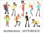 men and women singing karaoke...   Shutterstock .eps vector #1075182413