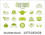 vector set of food labels with... | Shutterstock .eps vector #1075182428
