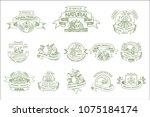 vector set of linear labels for ... | Shutterstock .eps vector #1075184174