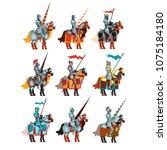 flat vector set of medieval... | Shutterstock .eps vector #1075184180