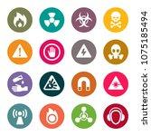 hazard signs icon set   Shutterstock .eps vector #1075185494