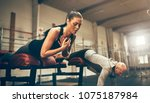fit young woman doing core...   Shutterstock . vector #1075187984