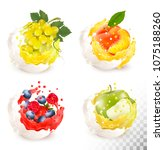 collection of fruit in a milk... | Shutterstock .eps vector #1075188260