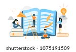 book reading illustration....   Shutterstock .eps vector #1075191509