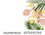composition of exotic seashells ... | Shutterstock . vector #1075191743