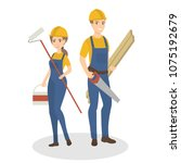 isolated construction workers... | Shutterstock .eps vector #1075192679