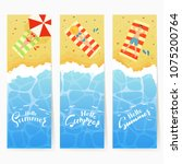 set of three summer cards with... | Shutterstock .eps vector #1075200764